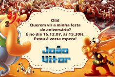 Convite digital personalizado Asterix e Obelix 002
