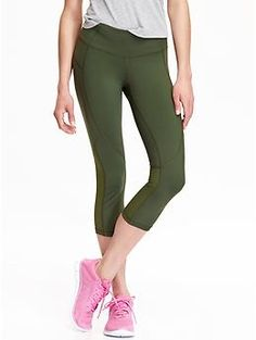 Womens Old Navy Active Mesh-Panel Compression Capris WITH POCKETS ...