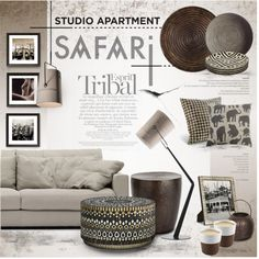 A Modern Apartment with a Safari Twist by nyrvelli on Polyvore featuring interior, interiors, interior design, home, home decor, interior decorating, Linteloo, Palecek, Diesel and Eva Solo