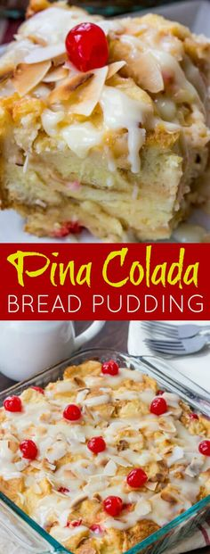 A fruity, coconuty, flavorful treat this Pina Colada Bread Pudding is perfect for breakfast, brunch or dessert! So I love taking spins on classic treats, Mini Desserts, Just Desserts, Delicious Desserts, Dessert Recipes, Yummy Food, Party Desserts, Hawaiian Desserts, Pineapple Desserts, Pineapple Recipes