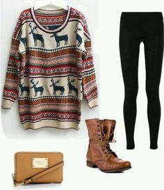 Patterned sweater with combat boots <3