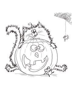 Spat le chat et une citrouille d'Halloween Coloriage