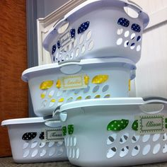 I love this idea. And rather than replacing the kids colored laundry baskets this seems easier and easier to replace.