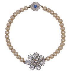 Lovett & Co. Vintage Cream Crystal Flower Pearl Bracelet
