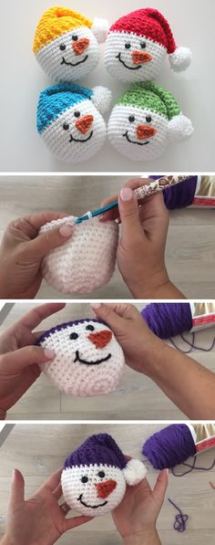 Today we& going to learn how to crochet a super cute snowman head. This project is -. - crochet ideas Today we& going to learn how to crochet a super cute snowman head. This project is - Crochet Diy, Crochet Amigurumi, Crochet Gifts, Learn To Crochet, Crochet Dolls, Crochet Ideas, Crochet Design, Crochet Christmas Decorations, Crochet Christmas Ornaments