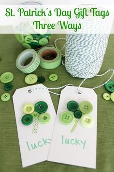 St Patricks Day Gift Tags - St. Patricks Day Crafts at ALittleClaireific... #crafts #DIY #StPatricksDay