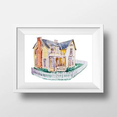 Wall Art Watercolor Gilmore Girls Lane's House Print,Kim's Antique,Gilmore girls,Lorelai and Rory,Tv Show Poster,Gilmores,Stars Hollow Print
