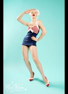 "The ""Hello Sailor"" Bettie One Piece Swimsuit from Pinup Couture"