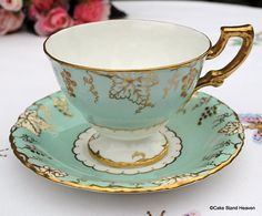 Royal Crown Derby Vine Pattern Vintage China Teacup and Saucer in Duck Egg Blue..