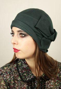 Bottle Green Wool cloche hat by Anna Chocola Brighton Milliner