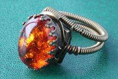 Steampunk - Steampunk Jewelry  Ring  Lab created Amber  18x13mm by CatherinetteRings