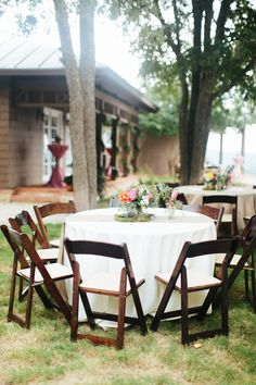 Our Folding Mahogany Chairs decorated by Flair Floral Wedding Chair Inspiration, Floral Event Design, Wedding Rentals, Outdoor Furniture Sets, Outdoor Decor, Wedding Chairs, Illusions, Tent, Table Decorations