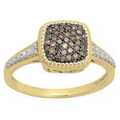 Elora 14K Gold 1/2 CT. TDW Round Champagne & White Diamond Ladies Cluster Style Bridal Engagement Ring
