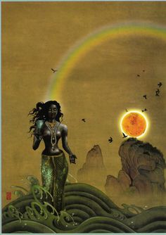 These beautiful depictions of perfect beauty are shown through graphic art, paintings and sculptures. Enjoy and don't be surprised if you fantasize and fall in love. African Mythology, African Goddess, Indian Goddess, Black Goddess, African American Art, African Art, Black Women Art, Black Art, Black Mermaid