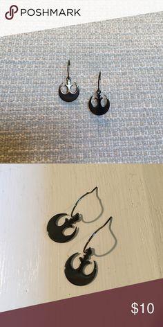 Star Wars rebel alliance earrings Dark hematite like metal color. Never worn. Black/grey Accessories