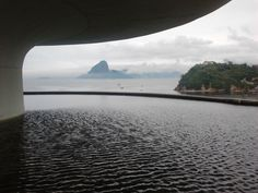 MAC Niteroi Rio Brazil - Comtemporary Art Museum with Rio de Janeiro at the bottom,