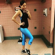 """Gym Selfie from Brie Bella's Pregnancy Pics  """"Another glamorous gym pic!!! Got my workout in and now I'm ready to get my snack game on for #TotalBellas in 2 hrs!!! You won't want to miss this episode! OH my family!! tonight at 8pm only on E! #nowkickingpregnancysbutt."""""""