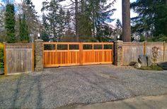 Wood Slide Gate with Clear Cedar Cladding