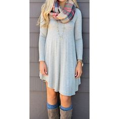 """Heather Gray Pocket Dress Super cute solid long sleeve dress with side pockets and scoop neckline. Unlined, not sheer. Fits true to size, the model is wearing small. Made of soft rayon and spandex fabric. S: 34"""". M: 35"""". L: 36"""" Serval Fashion Dresses Long Sleeve"""