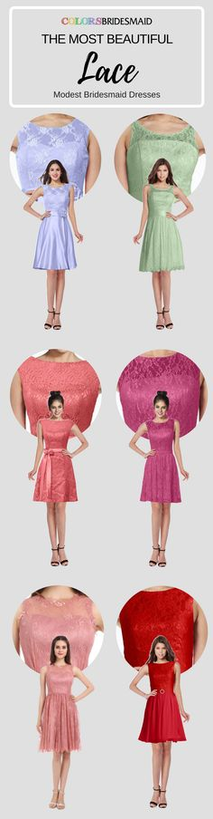 These modest style short bridesmaid dresses with beautiful lace decoration are so popular and welcomed. They can be custom made to all sizes and are mostly sold under $100. Where to buy such cheap bridesmaid dresses? Colorsbridesmaid.com is your best choice.