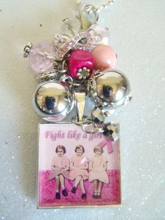 """""""Fight Like a Girl"""" Charm necklace-October is Breast Cancer Awareness month!"""