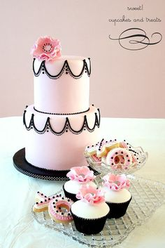 Pink and Black  Cake with Matching Cupcakes and Cookies