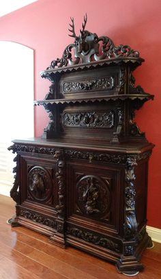 Antique French Carved Oak Hunt Cabinet BOOKCASE Sideboard ~STAG DEER  Pheasant