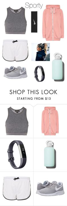 """""""Morning Jog 👟"""" by dearingirl ❤ liked on Polyvore featuring Topshop, NIKE, Fitbit and bkr"""