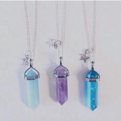 Crystal necklaces - star - blue - purple - jewellery