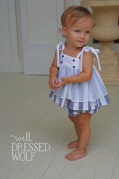 Lucy set by Well Dressed Wolf. Toddler Dress Patterns, Baby Girl Patterns, Girl Dress Patterns, Toddler Outfits, Kids Outfits, Baby Outfits, Baby Girl Fashion, Kids Fashion, Fashion Outfits