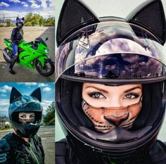 Cat ear helmet biker