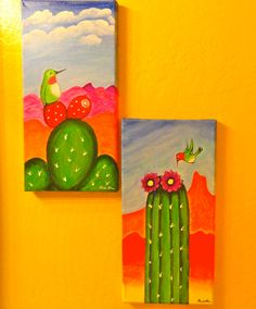"Hummingbird Cactus Folk Art Brightly Colored Original Painting 7"" x 14""  SOLD 10/23/14  :)"