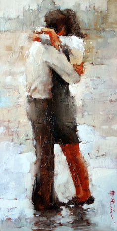 "SOLD- The Kiss Series #16, 24"" x 12"", Oil by Andre Kohn In love with this piece? Contact us for a commission. http://www.andrekohnfineart.com/"