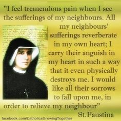 "Faustina Our Lord told Saint Faustina; ""If the angels were capable of envy, they would envy us for two things: one is the receiving of Holy Communion, and the other is suffering. Catholic Saints, Roman Catholic, St Faustina Kowalska, Fulton Sheen, Catholic Quotes, Saint Quotes, Divine Mercy, Jesus Cristo, Blessed Mother"
