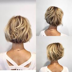 60 Layered Bob Styles: Modern Haircuts with Layers for Any Occasion Short Bob with Wavy Layers Layered Bob Hairstyles, Short Bob Haircuts, Easy Hairstyles, Hairstyles 2018, Medium Hairstyles, Boy Haircuts, Haircuts For Over 50, Chin Length Hairstyles, Bobbed Haircuts
