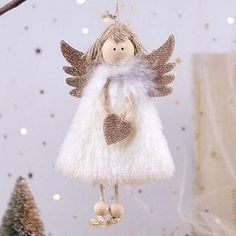 Christmas Angel Ornaments, Christmas Images, Family Christmas, Christmas Tree Decorations, Christmas Crafts, Christmas Ideas, Handmade Angels, Angel Decor, Angel Crafts
