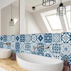Blue Moroccan Tiles – Wall – Stairs – Tile Stickers – Removable Kitchen Bathroom Decal – PACK OF 24 - Modern Moroccan Tiles Kitchen, Moroccan Tile Bathroom, Blue Moroccan Tile, Moroccan Decor, Kitchen Tiles, Moroccan Interiors, Ikea Kitchen, Bathroom Decals, Tile Decals