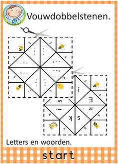 Spellepakket start. Mooi pakket met 12 verschillende spelletjes. Leuk te gebruiken in groep 3 bij VLL kim versie. Vouwdobbelstenen. Letters en woorden.