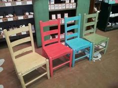 Little chairs in American Paint Company paint colors: Amber waves of grain, Coral Reef, Shoreline, and Nana's Cupboard American Paint Company, Paint Companies, Chalk Paint, Cupboard, Paint Colors, Amber, Dining Chairs, Coral, Waves