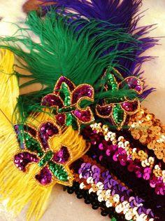 Fleurty Girl - Everything New Orleans - Mardi Gras Flapper Headband - Hair Flair - Footwear & Accessories Flapper Headband, Headband Hair, New Orleans Mardi Gras, Mardi Gras Parade, Mardi Gras Costumes, Arts And Crafts, Diy Crafts, Holiday Fun, Headbands