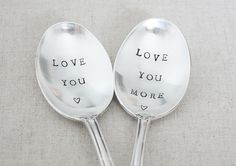 Love You. Love You More. Hand Stamped Vintage Dessert Spoons. Hand Stamped Vintage Silverware by The Faded Nest.