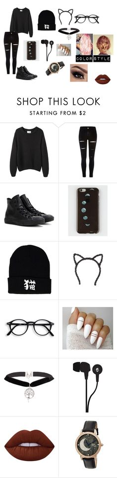 """""""Lazy Days"""" by lilyscarrlettx on Polyvore featuring La Garçonne Moderne, River Island, Converse, Topshop, Skullcandy, Lime Crime, Sophie and Freda and Dark"""
