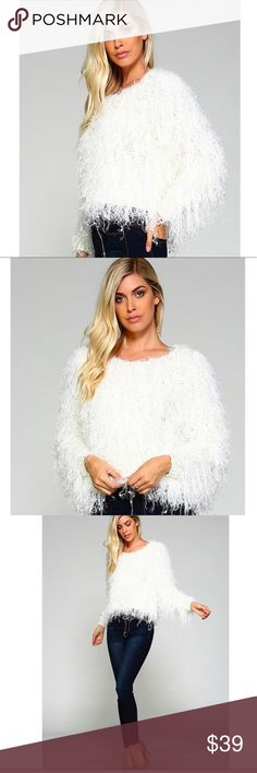 ✨Winter White Fluffy Sweater✨ Super cute, unique, and winter chic white fuzzy, fur-like sweater!  Very soft fabric!! Make a statement in this fabulous, cozy sweater! 100% polyester with fur like detail. Round neckline. Perfect with jeans or skinny pants. Brand new from manufacturer❣️ Boutique Sweaters Crew & Scoop Necks