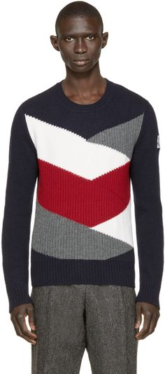 Moncler Gamme Bleu: Multicolor Knit Sweater   SSENSE