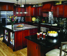 Trendy Kitchen Backsplash Ideas With Black Granite Open Shelving Cherry Wood Kitchen Cabinets, Cherry Wood Kitchens, Cherry Kitchen, Kitchen Cabinets Decor, Painting Kitchen Cabinets, Kitchen Paint, Kitchen Ideas, Kitchen Wood, Dark Cabinets