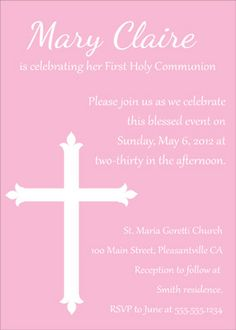 First Communion, Baptism, and Confirmation Invitations or Announcements {Free} - multiple designs/downloads