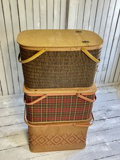 Vintage Picnic Basket, Picnic Baskets, Vintage Baskets, Vintage Chairs, Painted Boxes, Red Barns, Particle Board, Kitchen Storage, Etsy Vintage