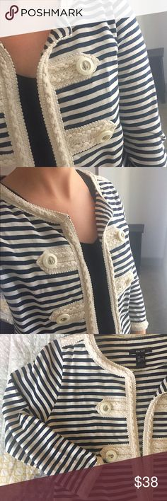 Mango Stripped Jacket Simply stunning stripped jacket from Mango! Beautifully detailed on sleeves and pockets . Worn a couple times ,doesn't have stains or tears. Gorgeous addition for spring! 🌷 Mango Jackets & Coats