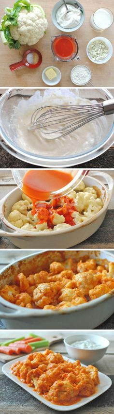 Buffalo Cauliflower with Blue Cheese Yogurt Dipping Sauce // yummy wing flavor without all the fat and calories