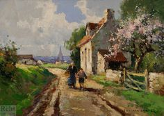 Edouard Leon Cortes (1882 - 1969) Little Village in Normandy